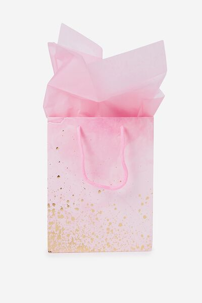 Stuff It Gift Bag Small With Tissue Paper, PINK MARBLE