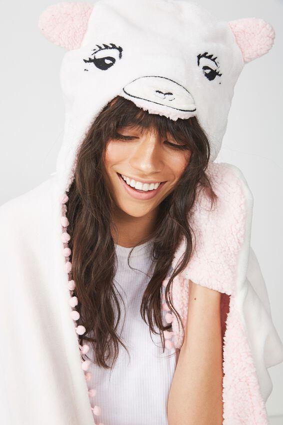 Premium Novelty Hooded Blanket, LIT LLAMA