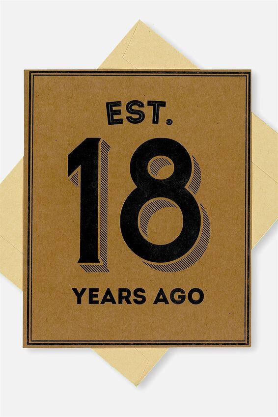 Age Card, EST 18 YEARS AGO