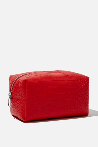 Made Up Cosmetic Bag, RED CROC