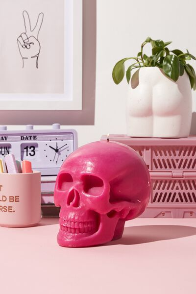 Shaped Candle, PINK GUAVA SKULL!