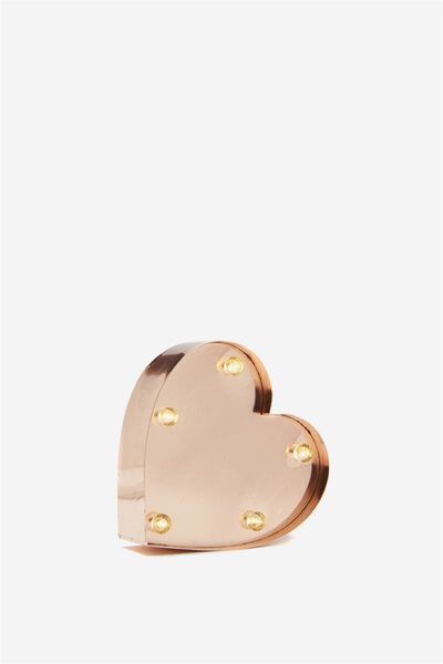 Mini Marquee Letter Lights 3.9inch, ROSE GOLD HEART