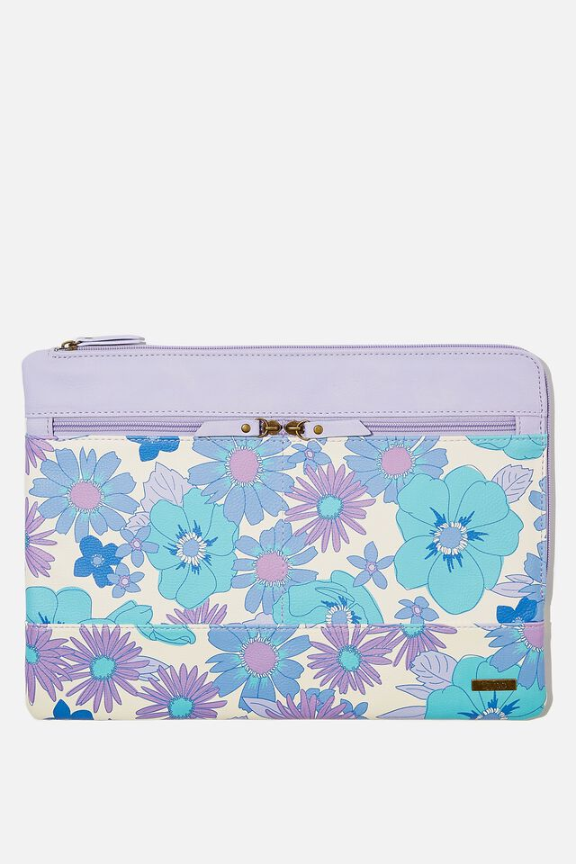 Oxford 13 Inch PU Laptop Case, STEVIE FLORAL BLUE WITH PALE LILAC