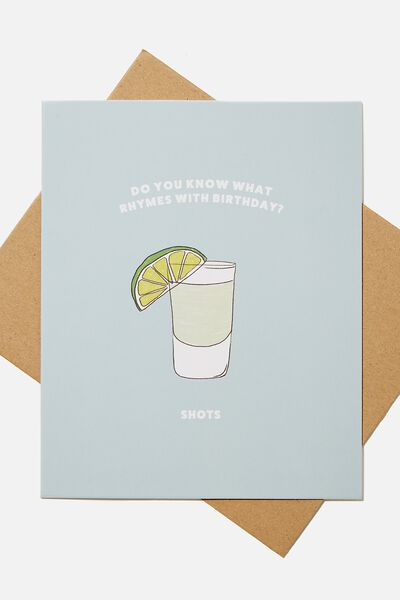 Premium Funny Birthday Card, SCENTED RHYMES WITH BIRTHDAY SHOTS!