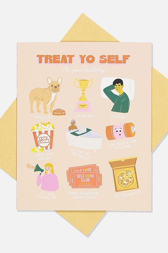 Nice Birthday Card, TREAT YOUR SELF BIRTHDAY ICONS