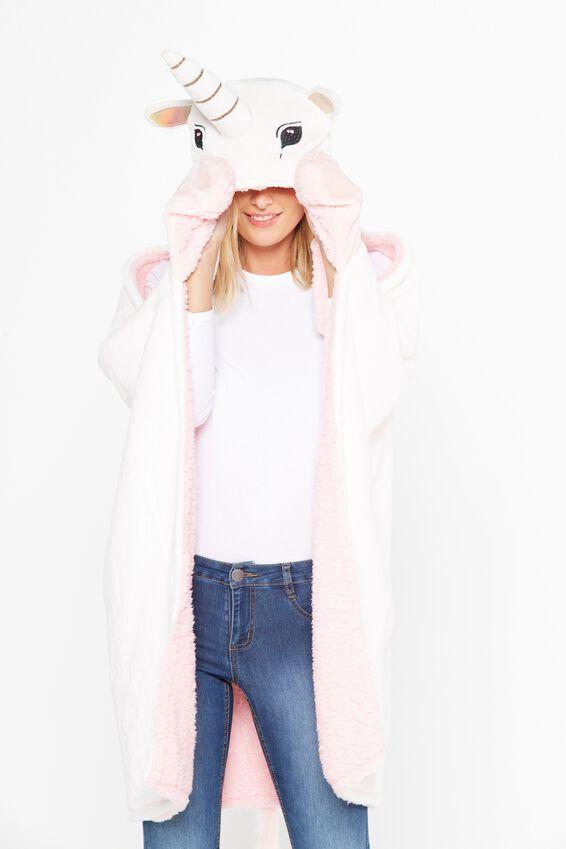 Unicorn Hooded Blanket, ROSE GOLD