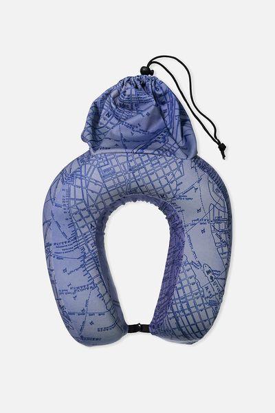 Foam Travel Neck Pillow, BLUE NY MAP