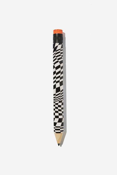 Fashion Giant Pencil, WARP CHECKERBOARD BLACK