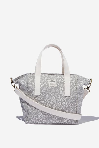 A5 Book Tote Bag, COOL GREY MEADOW DITSY
