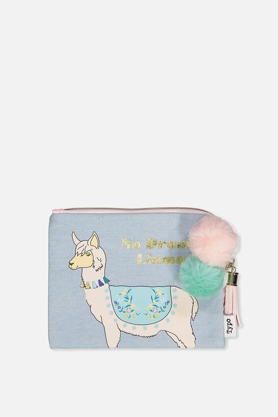 Luxe Pencil Case, DENIM LLAMA