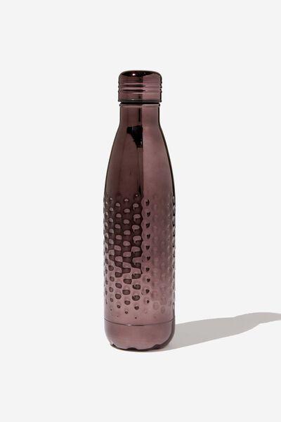 Premium Metal Drink Bottle, HAMMERED BLACK