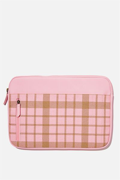 Take Charge 13 Inch Laptop Cover, RETRO CHECK PLASTIC PINK