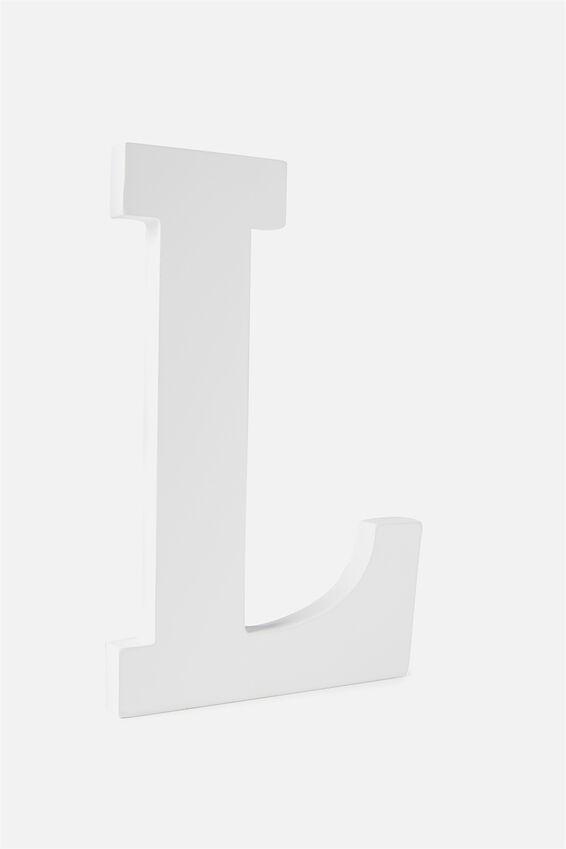 Large Letterpress Letter, WHITE L