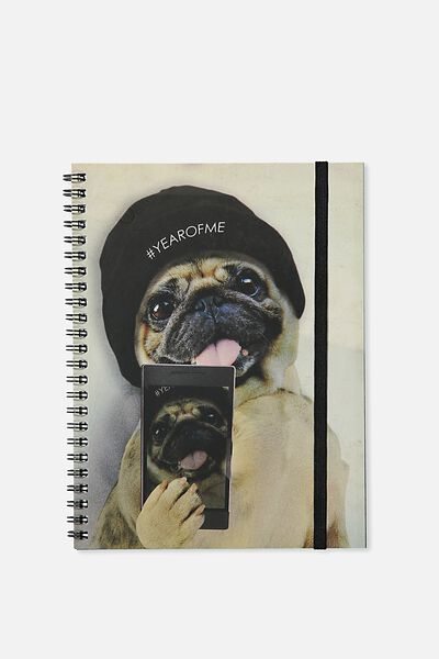 A5 Spinout Notebook - 120 Pages, PUG SELFIE