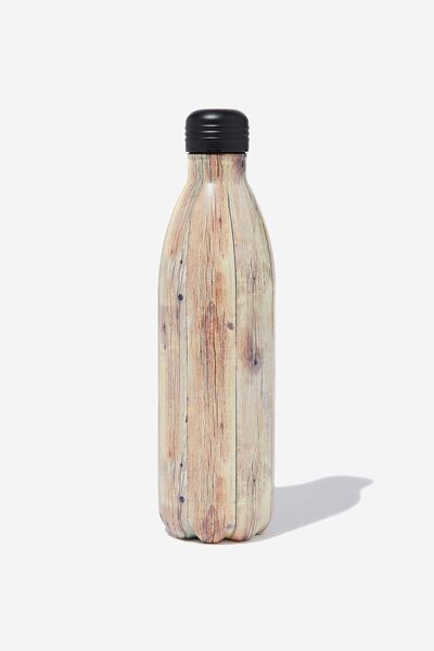 1L Metal Drink Bottle, ROUGH TIMBER