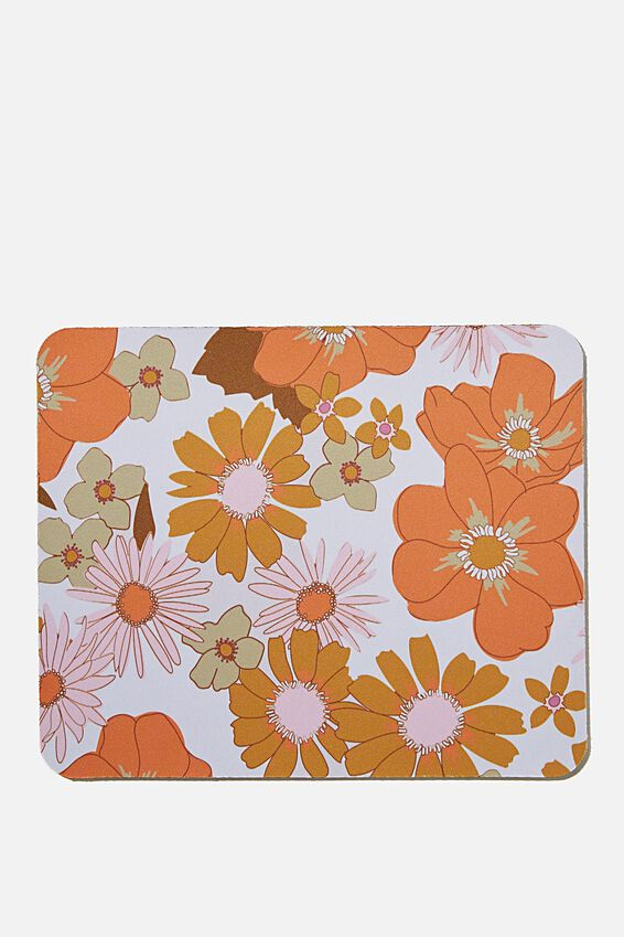 Neoprene Mouse Pad, ORANGE AND PINK STEVIE FLORAL