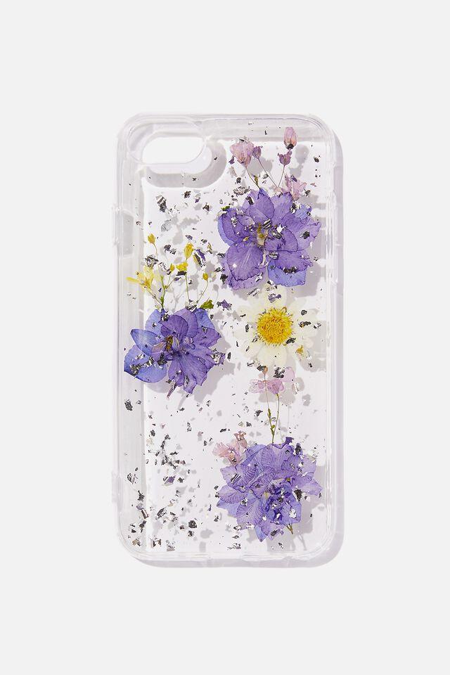 Protective Phone Case 6, 7, 8, SE, PURPLE & DAISY PRESSED FLOWER