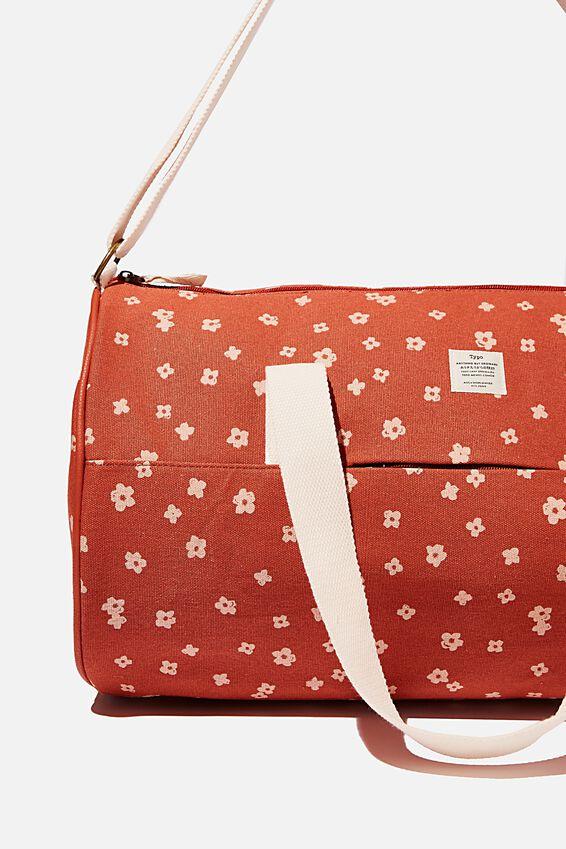 Canvas Barrel Bag, CHARLIE FLORAL RUST