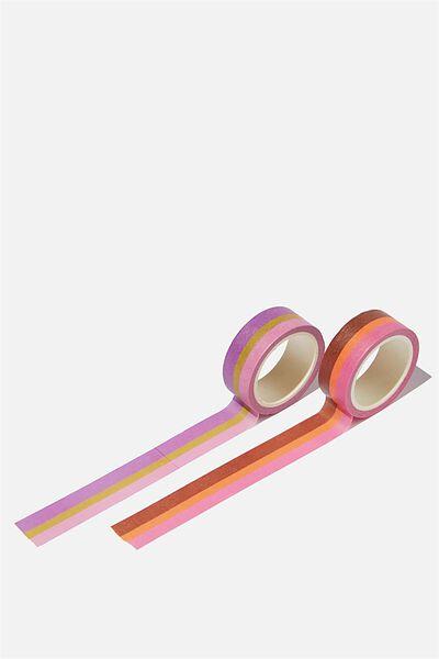Washi Tape 2Pk, RETRO STRIPES