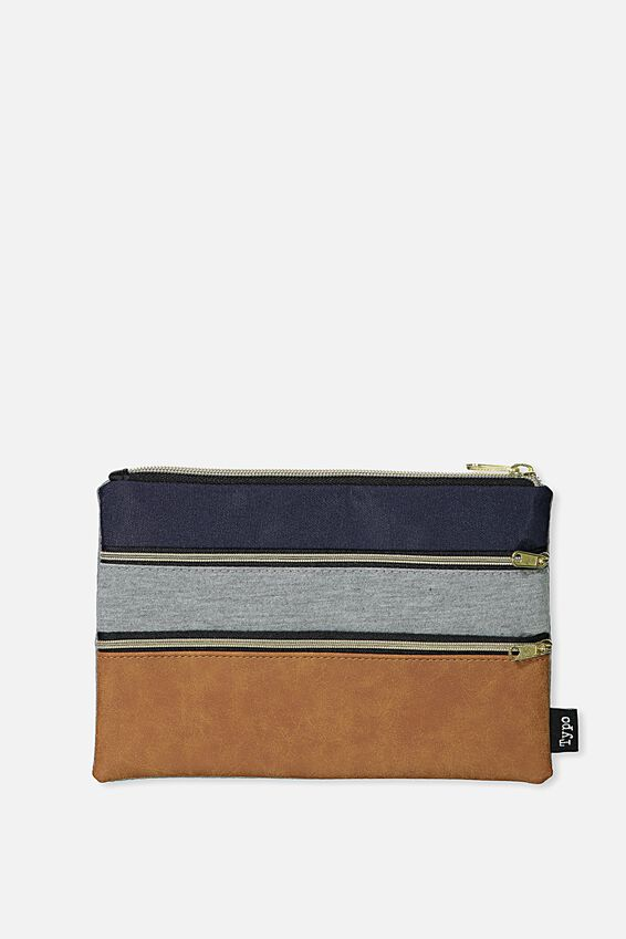 Double Archer Pencil Case, GREY TAN NAVY