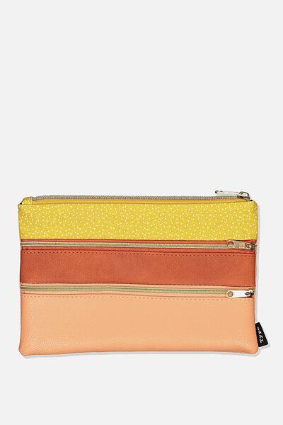 Double Archer Pencil Case, MUSTARD AND RUST