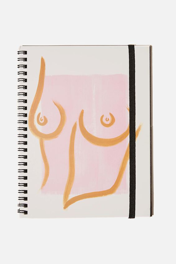 A5 Spinout Notebook Recycled, PINK TORSO!