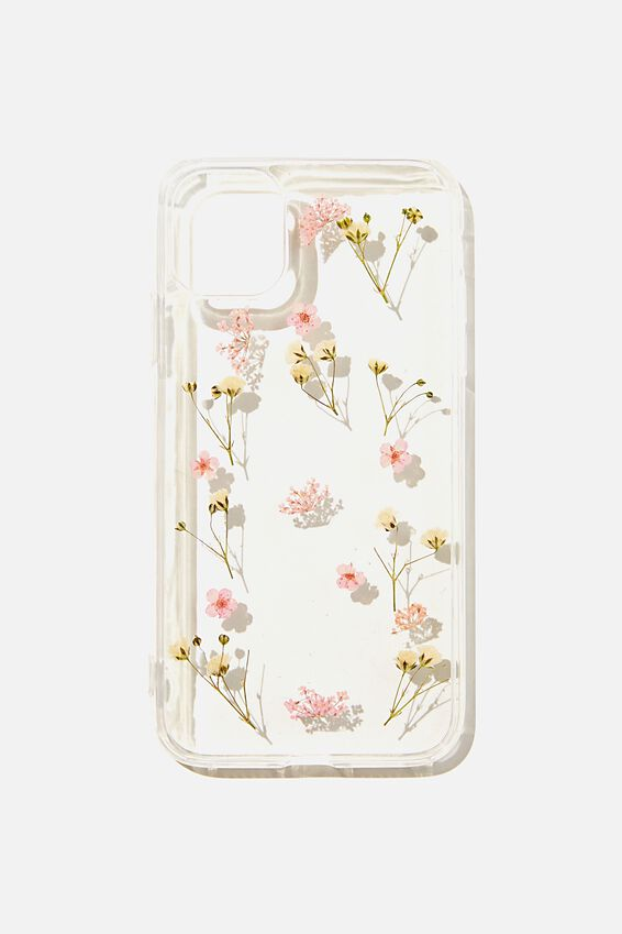 Protective Phone Case iPhone 11, PINK TRAPPED MICRO FLOWERS