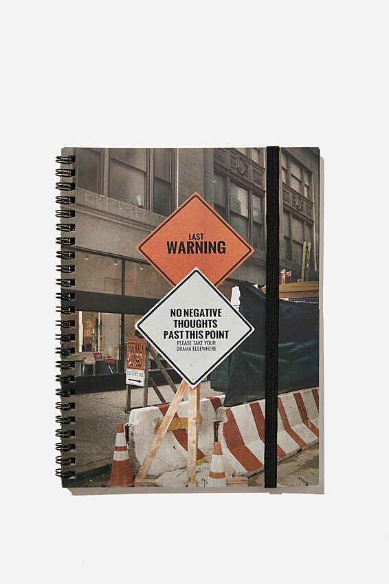 A5 Spinout Notebook Recycled, RG ASIA WARNING SIGN