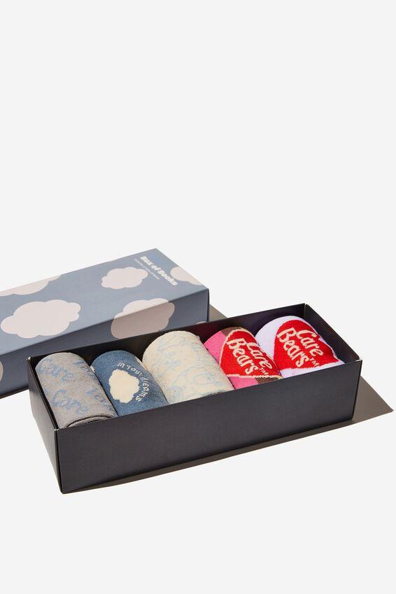Care Bears Box of Socks, LCN CLC PASTEL CARE BEARS