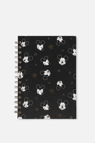 A5 Printed Spiral Notebook, LCN MICKEY HEAD STARS