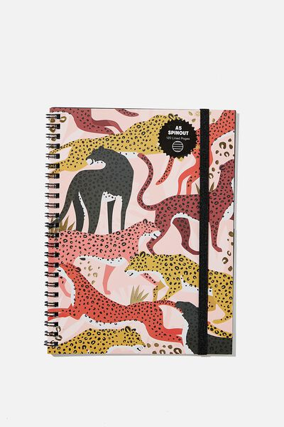 A5 Spinout Notebook Recycled, LEOPARD
