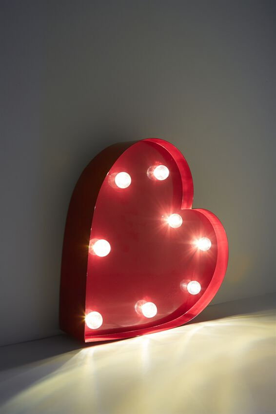 Shaped Small Marquee Light, RED HEART
