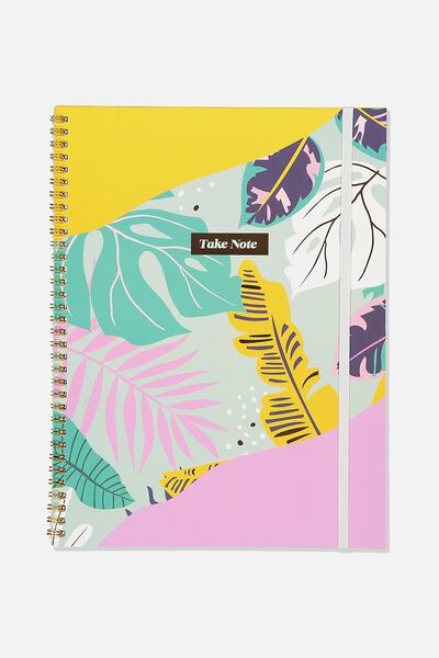 A4 Spinout Notebook Recycled, JUNGLE FLORAL