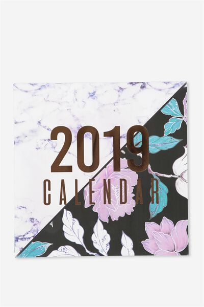 2019 Square Calendar, MARBLE & FLORAL