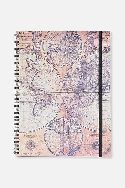 A4 Spinout Notebook - 120 Pages, WORLD MAP