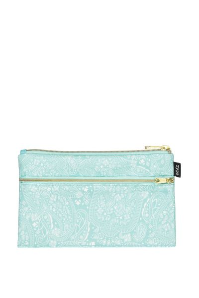Archer Pencil Case, AQUA LACE