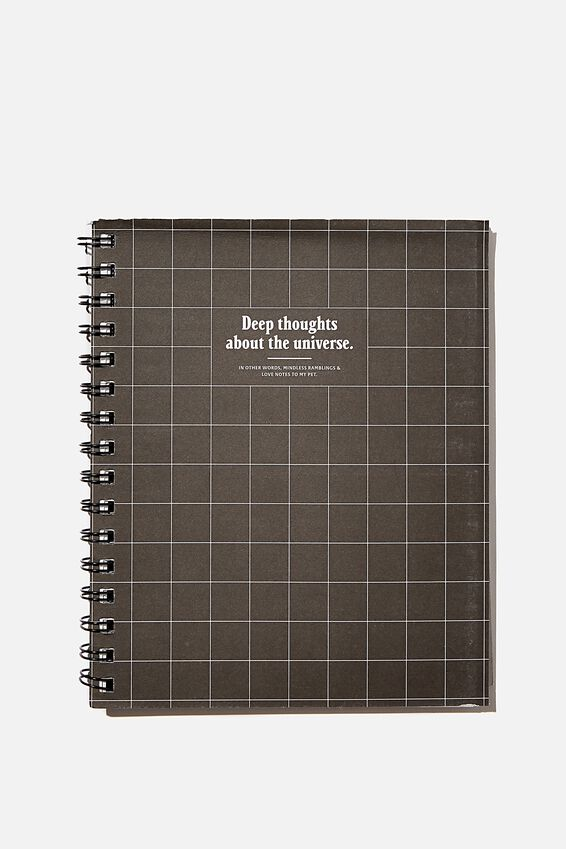 A5 Campus Notebook Recycled, BLACK GRID DEEP THOUGHTS