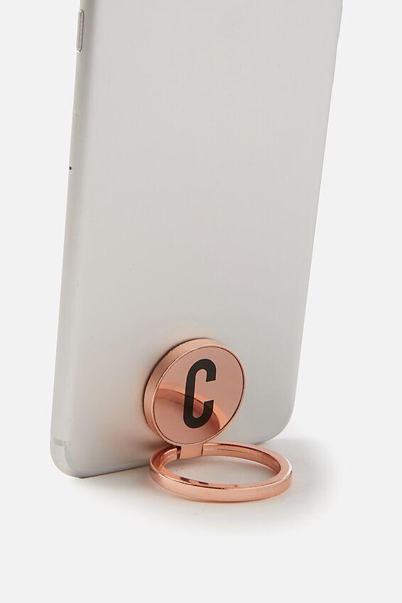 Metal Alpha Phone Ring, ROSE GOLD C