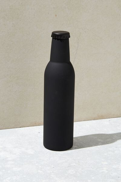Bottle Top Metal Drink Bottle, BLACK RUBBER