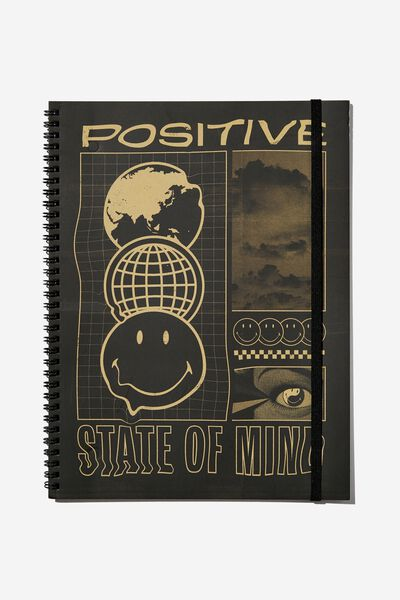 A4 Spinout Notebook Recycled, LCN SMI SMILEY POSITIVE STATE OF MIND WARPED