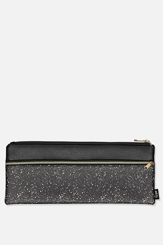 Patti Pencil Case, BLACK SPLATTER