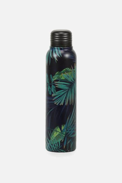 Small Metal Drink Bottle, JUNGLE LEAVES