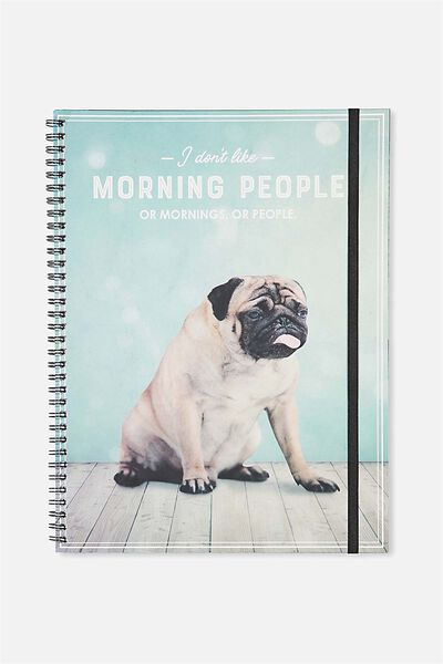 Large Spinout Notebook Usa 11X8, PUG MORNING PEOPLE