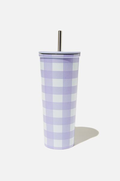 Metal Smoothie Cup, LILAC GINGHAM
