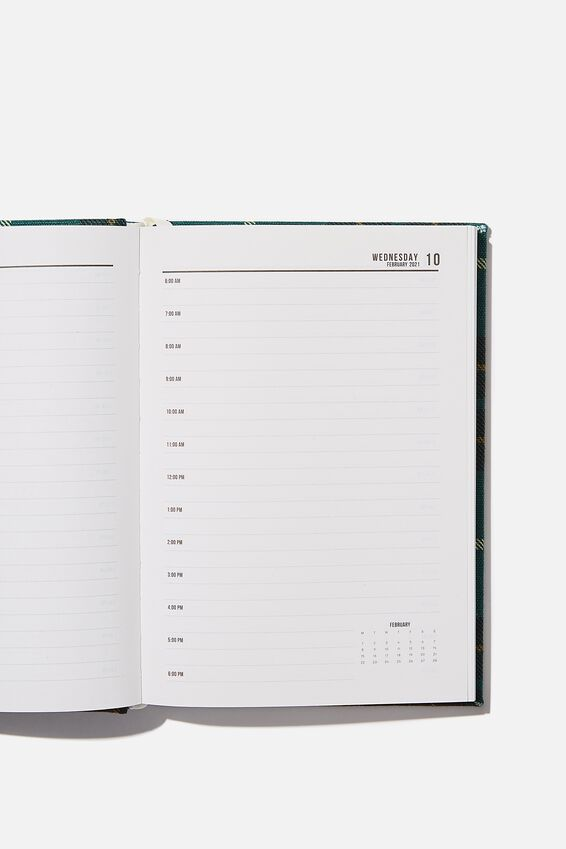 2021 A5 Oxford Daily Diary, FLANNO GREEN CHECK
