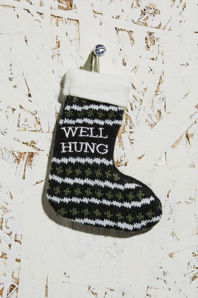 Knitted Christmas Ornament, WELL HUNG STOCKING