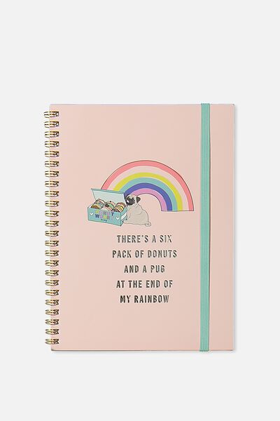 A5 Spinout Notebook - 120 Pages, DONUTS PUG RAINBOW