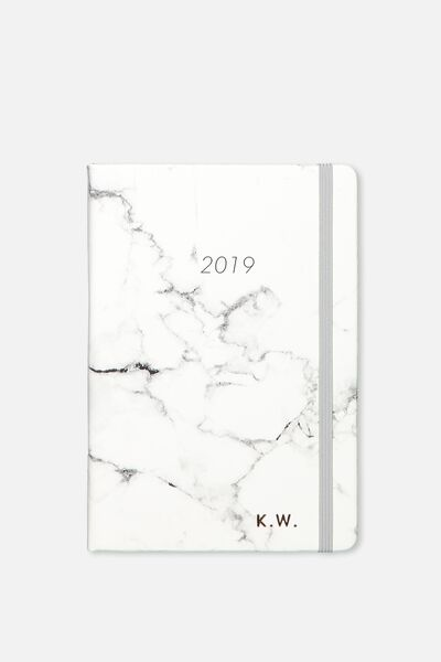 Personalised 2019 A5 Weekly Buffalo Diary, GREY MARBLE