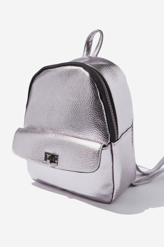 Mini Cairo Backpack, GUNMETAL TURNLOCK