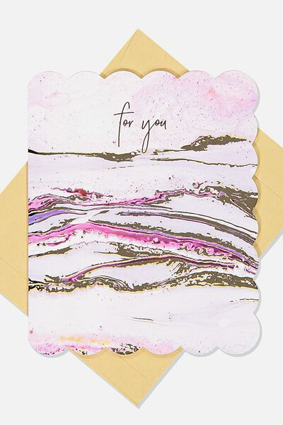 Premium Blank Card, PINK MARBLE FOR YOU
